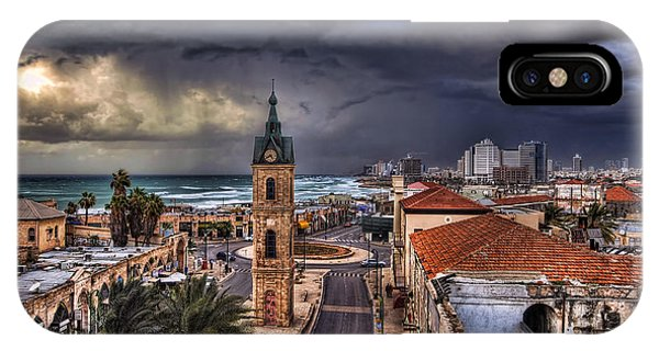 Meditative iPhone Case - the Jaffa old clock tower by Ronsho