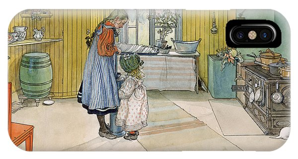 Art And Craft iPhone Case - The Kitchen From A Home Series by Carl Larsson