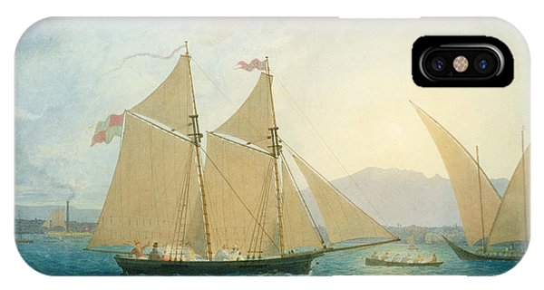 Boats iPhone Case - The Launch La Sociere On The Lake Of Geneva by Francis  Danby