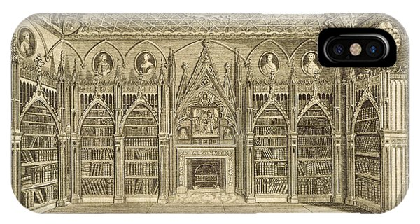 Fireplace iPhone Case - The Library, Engraved By Godfrey by English School
