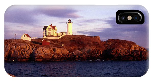 Lighthouse Wall Decor iPhone Case - The Light On The Nubble by Skip Willits