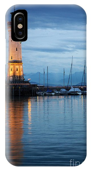 The Lighthouse Of Lindau By Night IPhone Case