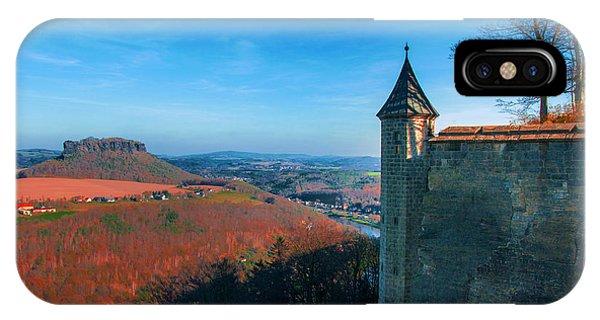 The Lilienstein Behind The Fortress Koenigstein IPhone Case