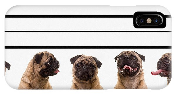 Pug iPhone X Case - The Line Up by Edward Fielding