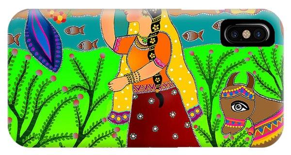 The Lonely Radha-madhubani Style-digital IPhone Case