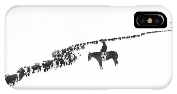 White Horse iPhone Case - The Long Long Line by Underwood Archives  Charles Belden
