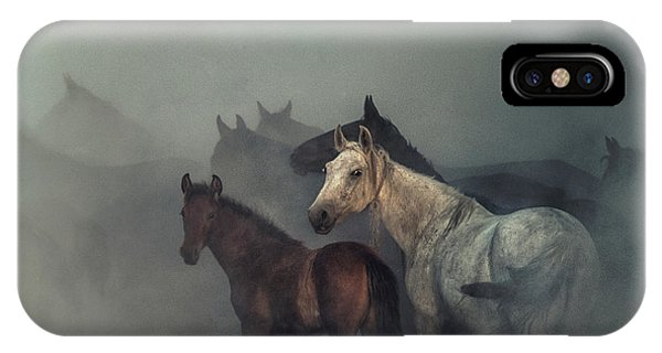 Dust iPhone Case - The Lost Horses by H??seyin Ta??k??n