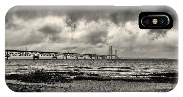 The Mackinac Bridge B W IPhone Case