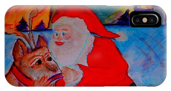 The Man In The Red Suit And A Red Nosed Reindeer IPhone Case