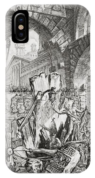 Dungeon iPhone Case - The Man On The Rack Plate II From Carceri D'invenzione by Giovanni Battista Piranesi