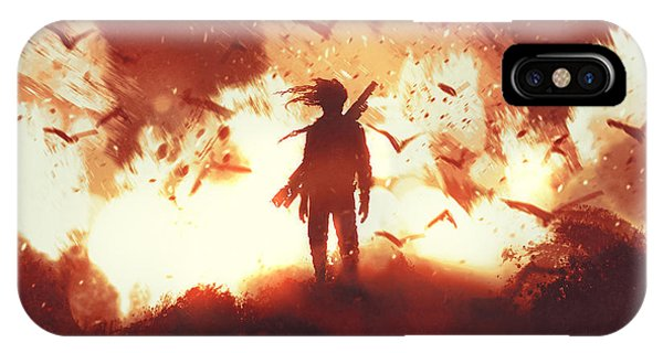 Explosion iPhone X Case - The Man With A Gun Standing Against by Tithi Luadthong