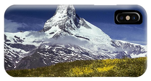 The Matterhorn With Alpine Meadow In Foreground IPhone Case