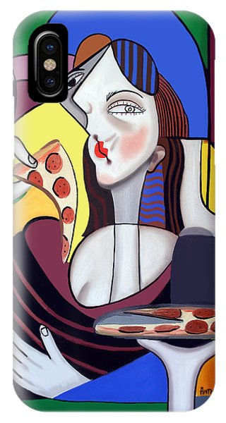 IPhone Case featuring the painting The Mona Pizza by Anthony Falbo
