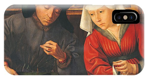 Finance iPhone Case - The Money Lender And His Wife, 1514 Oil On Panel by Quentin Massys or Metsys