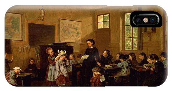 Classroom iPhone Case - The Naughty School Children by Theophile Emmanuel Duverger