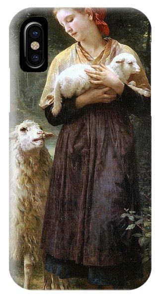 Sheep iPhone X / XS Case - The Newborn Lamb by William Bouguereau