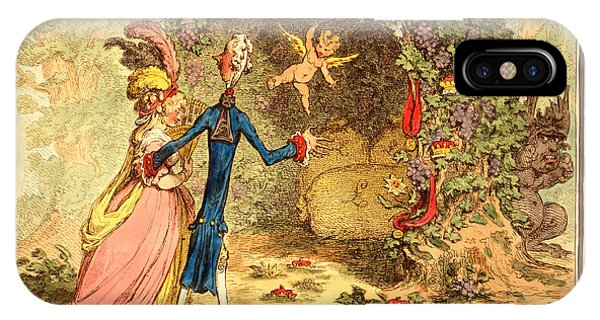 Debts iPhone Case - The Nuptial Bower, With The Evil One, Peeping At The Charms by Gillray, James (1756 Or 1757-1815), British