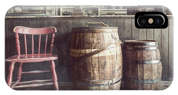 The Old General Store - Red Chair And Barrels In This 19th Century Store IPhone Case