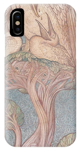 Pre-modern iPhone Case - The Pelican, Cartoon For Stained Glass For The William Morris Company, 1880 Coloured Chalk On Paper by Sir Edward Coley Burne-Jones