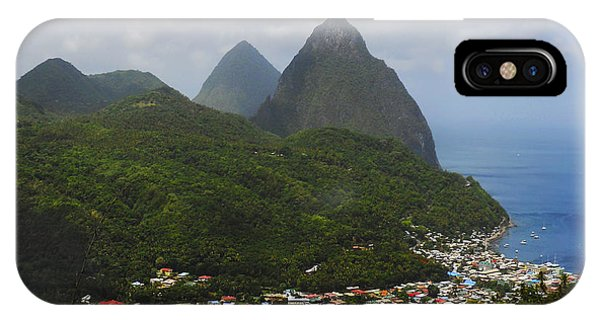 IPhone Case featuring the photograph The Pitons And Soufriere by Joe Winkler