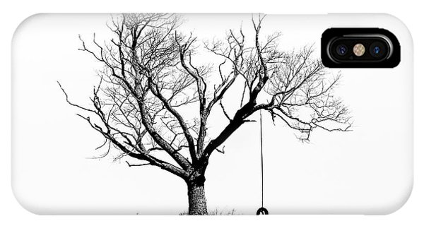 The Playmate - Old Tree And Tire Swing On An Open Field IPhone Case