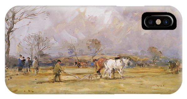 Plowing iPhone Case - The Plough Team by John Atkinson