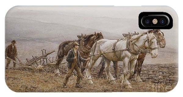 Plowing iPhone Case - The Ploughman Wilmington Polegate Near Eastbourne by Joseph Harold Swanwick
