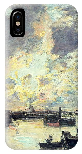 Boats iPhone Case - The Port by Eugene Louis Boudin