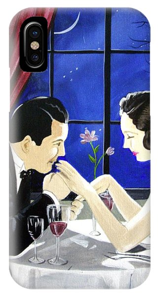 Table For Two iPhone Case - The Proposal by Rosemarie Temple-Smith