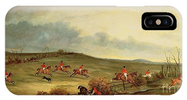 Bravery iPhone Case - The Quorn In Full Cry Near Tiptoe Hill by John E Ferneley