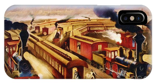 Passenger Train iPhone Case - The Railroad Junction - Circa 1880 by Lianne Schneider
