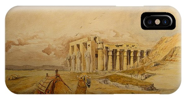 Temple iPhone Case - The Ramesseum Theban Necropolis Egypt by Juan  Bosco