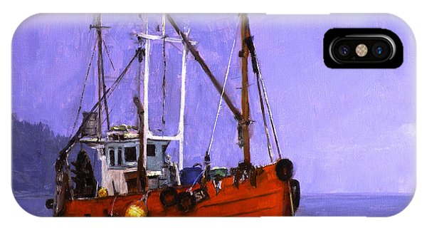 The Red Fishing Boat Phone Case by Carlos Herrera