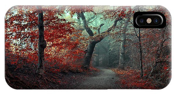 Woods iPhone Case - The Red Forest by Leif L??ndal