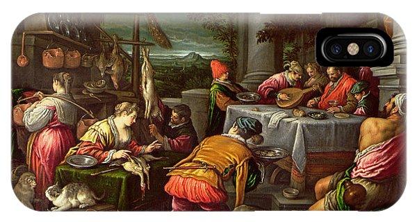 New Testament iPhone Case - The Rich Man And Lazarus, 1590-95 by Leandro da Ponte Bassano