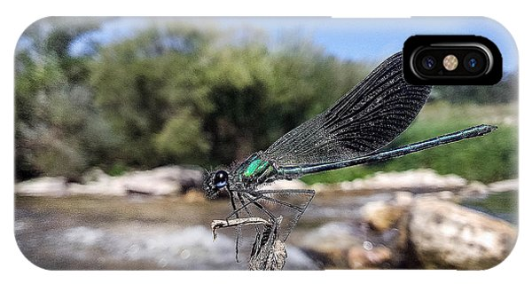 IPhone Case featuring the photograph The River Dragonfly by Stwayne Keubrick