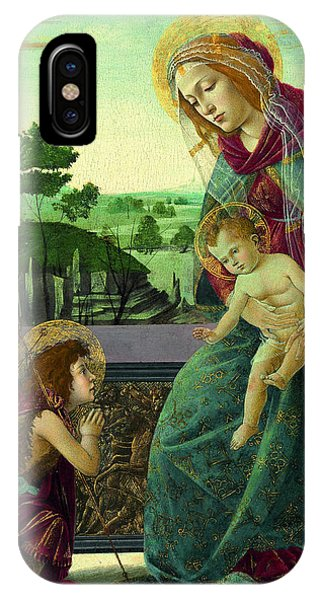 Botticelli iPhone Case - The Rockefeller Madonna. Madonna And Child With Young Saint John The Baptist by Sandro Botticelli