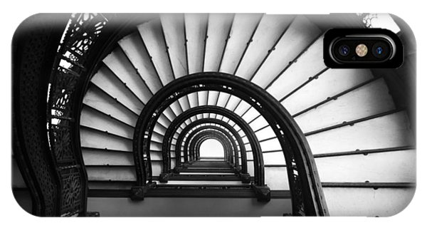 IPhone Case featuring the photograph The Rookery Staircase In Black And White by Kelly Hazel