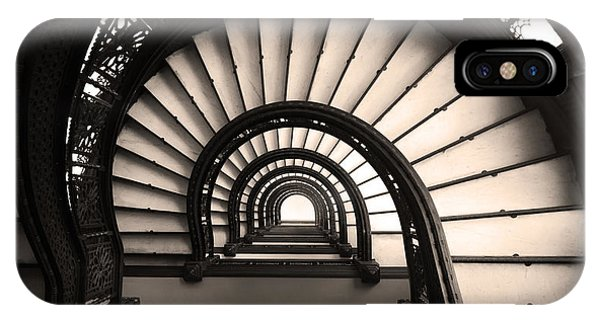IPhone Case featuring the photograph The Rookery Staircase In Sepia Tone by Kelly Hazel