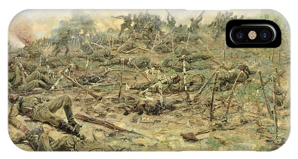 Wwi iPhone Case - The Russian Infantry Attacking The German Entrenchments by Pyotr Pavlovich Karyagin