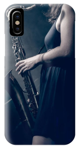 The Saxophonist Sounds In The Night IPhone Case