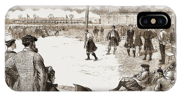 Stamford iPhone Case - The Scottish Gathering At Stamford Bridge Tossing The Caber by Litz Collection