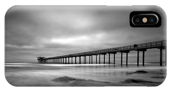 Scripps Pier iPhone Case - The Scripps Pier - Black And White by Peter Tellone