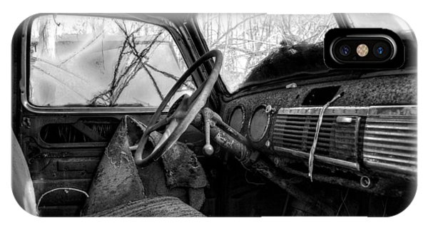 The Seat Of An Old Truck In Black And White IPhone Case