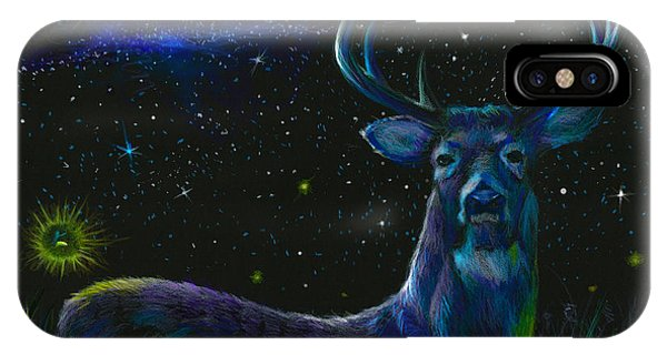Mule Deer iPhone Case - The Serenity Of The Night  by Yusniel Santos
