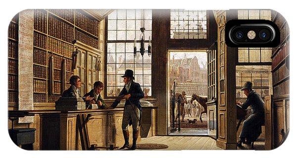 Window Shopping iPhone Case - The Shop Of The Bookdealer Pieter Meijer Warnars On The Vijgendam In Amsterdam, 1820, By Johannes by Bridgeman Images