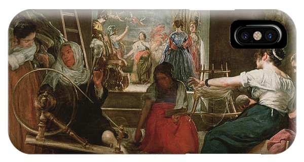 The Spinners, Or The Fable Of Arachne, 1657 Oil On Canvas See 91618 For Fully Restored Version IPhone Case