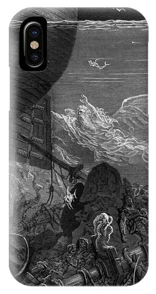 Shipwreck iPhone Case - The Spirit That Had Followed The Ship From The Antartic by Gustave Dore