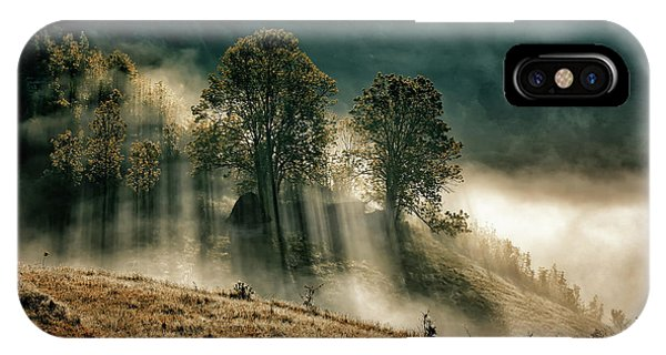 Sun Rays iPhone Case - The Struggle Between Darkness And Light by Grigore Roibu
