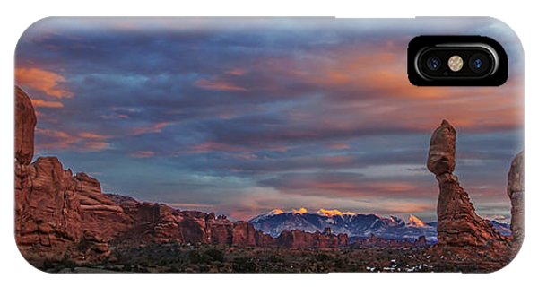 The Sun Sets At Balanced Rock IPhone Case